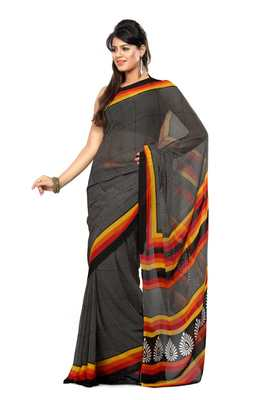 Black Colored Chiffon Printed Saree