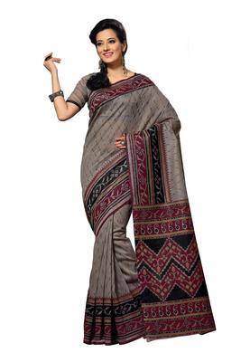 Grey Colored Cotton Printed Saree