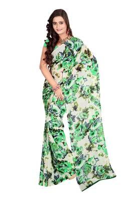 Cream & Green Colored Dani Georgette Printed Saree
