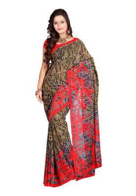 Black,Cream & Red Colored Dani Georgette Printed Saree