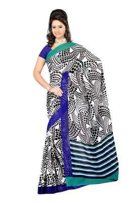 White & Black Colored Dani Georgette Printed Saree