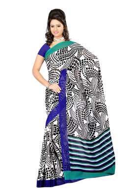 White & Black Colored Dani Georgette Printed Saree