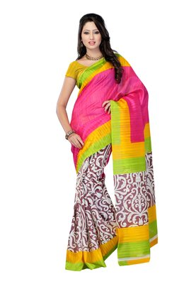 Magenta & Yellow Colored Bhagalpuri silk Printed Saree
