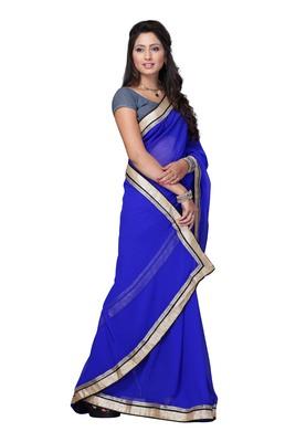 Blue Colored Faux Georgette Plain Saree