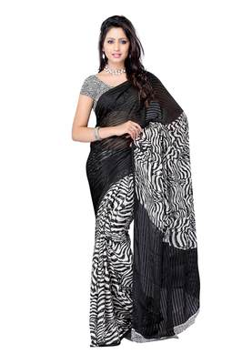 Black Colored Georgette Printed Saree