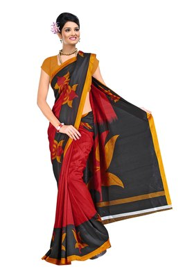 Red & Orange Colored Silk Printed Saree