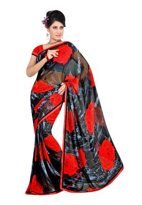 Black & Red Colored Georgette Printed Saree