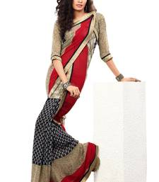 Buy Red Colored Chiffon Printed Saree chiffon-saree online