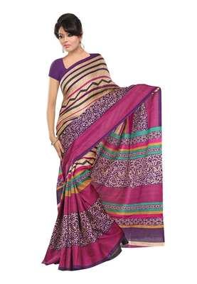 Magenta & Gold Colored Khadi Silk Printed Saree