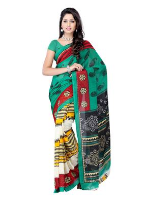 Petra Fab Light Green Colored Georgette Printed Saree