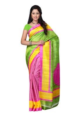 Petra Fab Lime Green & Pink Colored Bhagalpuri Silk Printed Saree