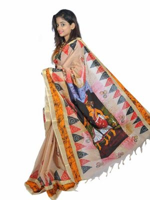 Off-White printed Cotton cotton-sarees With Blouse