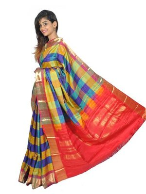 Multi-Coloured hand_woven Silk silk-sarees With Blouse