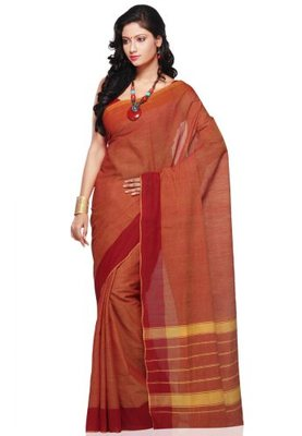 Bronze hand_woven Cotton cotton-sarees With Blouse