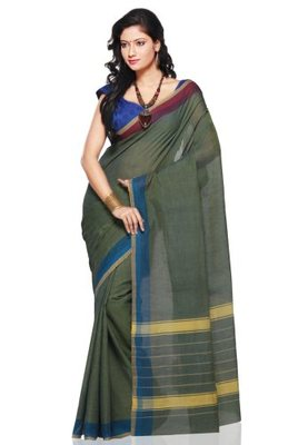 Green hand_woven Cotton cotton-sarees With Blouse