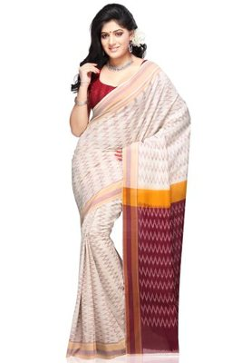 Multi-Coloured hand_woven Cotton cotton-sarees With Blouse