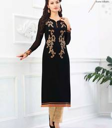 Buy Black embroidered georgette georgette-kurtis georgette-kurti online