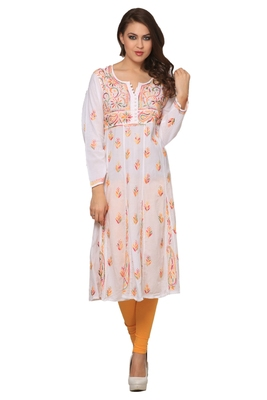 Multicolor embroidered Pure Cotton  stitched kurti