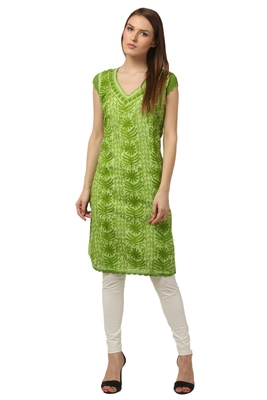 Green embroidered Pure Cotton stitched kurti