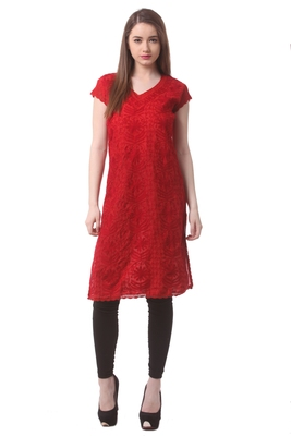 Red embroidered Pure Cotton stitched kurti