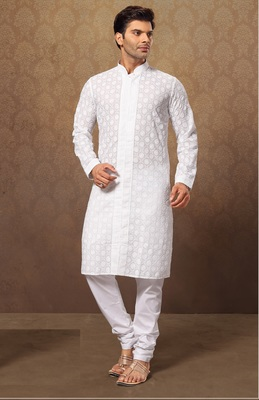 White Cotton Poly Embroidered Kurta Pajama