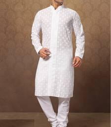 white cotton poly embroidered kurta pajama