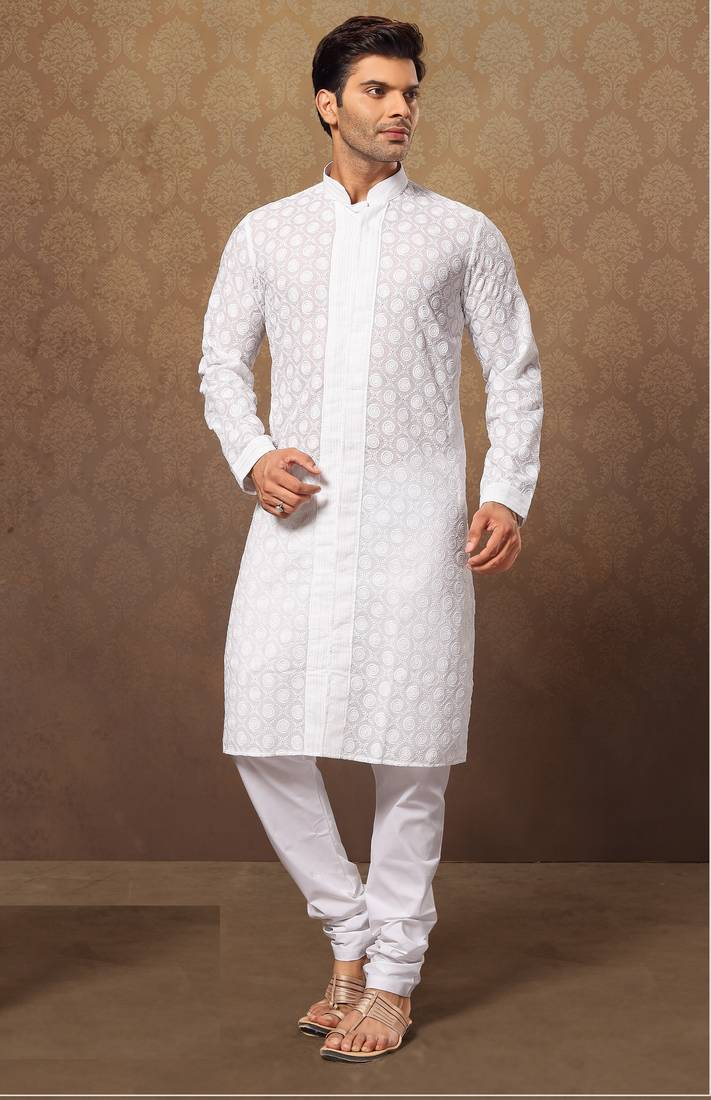 Buy White Cotton Poly Embroidered Kurta Pajama Online
