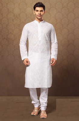 White Cotton Embroidered Kurta Pajama