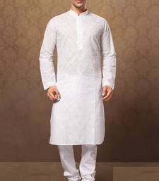 White Cotton Embroidered Kurta Pajama