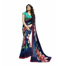 Buy Navy blue printed georgette saree with blouse fancy-saree online