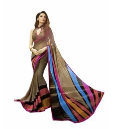 Buy Brown printed georgette saree with blouse fancy-saree online