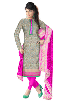 Traditional Women Multi Jacquard Unstitched Anarkali  churidar