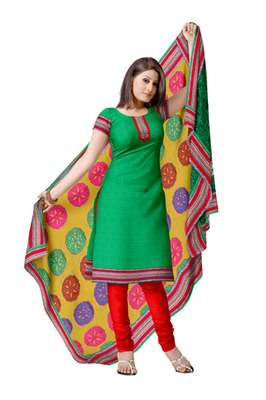 Traditional Women Green Jacquard Unstitched Anarkali  churidar