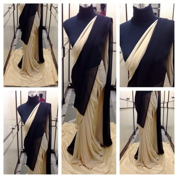 Cream Semi  georgette saree