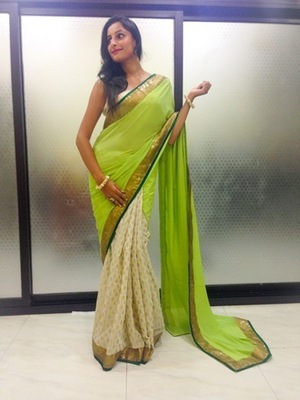white brocade bottom Saree