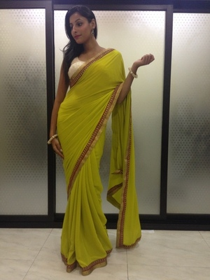 Pista Green crepe saree