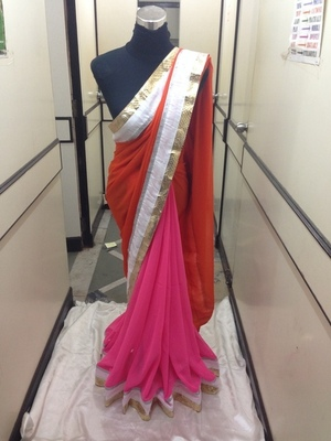 Pink Semi georgette Saree