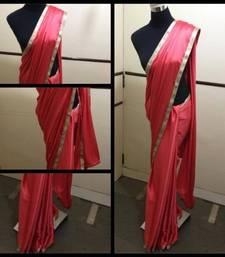 Buy Pumpkin red Satin saree satin-saree online
