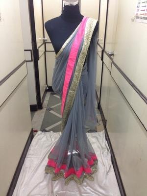 Grey Net saree