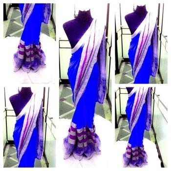 Dark Blue Semi Georgette Saree