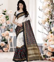 Buy multicolor printed cotton saree with blouse cotton-silk-saree online