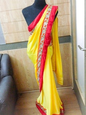 Yellow crepe saree