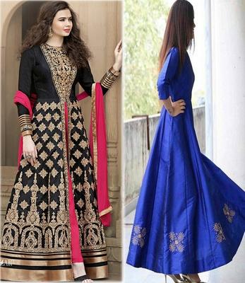 592ccb8596 Black & Royal Blue Color Embroidary Work Bengluri and Tappet Silk anarkali  Salwar Suit for festival