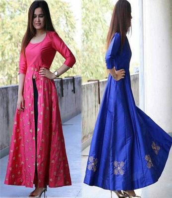 fe1f3498a1efd4 Rani Pink & Royal Blue PInk Color Embroidered Work Taffeta Silk Gown ...