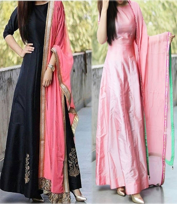Buy Black And Light Pink Color Embroidered Work Tapetta