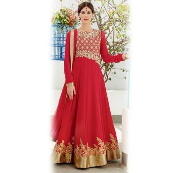 Red Floor Length Anarkali Suit