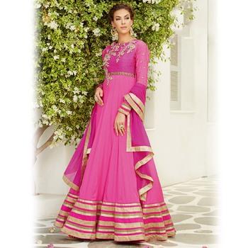 Magenta Floor Length Anarkali Suit