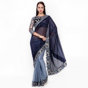 black embroidered velvet saree with blouse