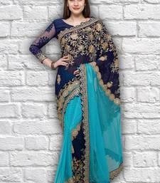 Buy Blue embroidered georgette saree  designer-embroidered-saree online