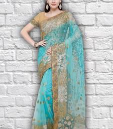 Buy Blue embroidered net saree  designer-embroidered-saree online